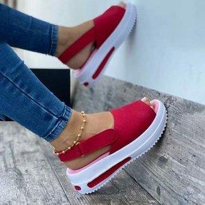 Kadınlar Düz Sandalet Yaz Peep Toe Moda Artı Boyutu Kadın Ayakkabı Katı Renk Backstrap Rahat Rahat Kadın Elbise