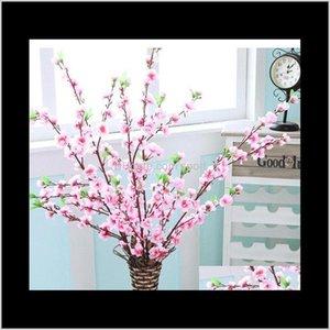 Искусственная вишня пружина сливы персик цветущий ветвь шелковый цветок дерево для украшения свадьбы белый красный желтый цвет EAEA47 322VM WVTHB