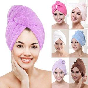 Mercan Kadife Kuru Saç Banyo Havlusu Mikrofiber Hızlı Kuruyan Türban Süper Emici Kadın Saç Kepçe Wrap Button WLL538