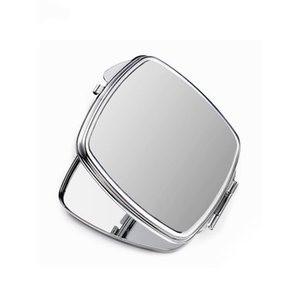 Sublimation Makeup Mirrors Iron 2 Face DIY Blank Plated Aluminum Sheet Girl Gift Cosmetic Compact Mirror Portable Decoration A02