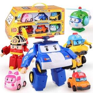 6pcs set Korea Robocar Transformation Robot Poli Amber Roy Car Model Anime Action Figure Toys for Children Best Gift