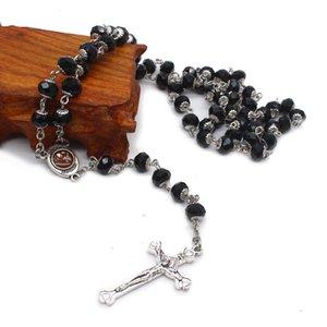 Crystal Crossar Cross Ожерелье Молитвенные бусины Католические Святые молитвы поставляет подарки