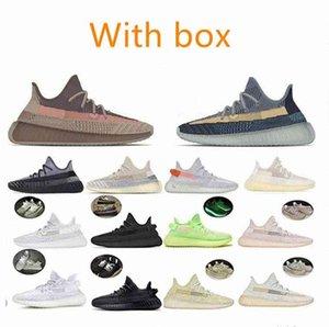 С коробкой Kanye West V2 исчезает натуральный Asriel Углеродный ясень синий жемчужный камень льна свечение десять темных гиперсцепция кроссовки мужчин женщин кроссовки B1oe #