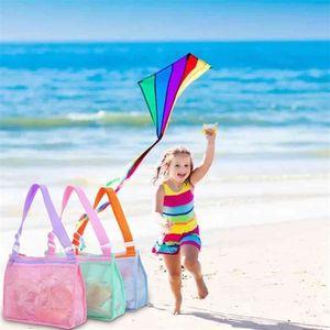 Beach School Lunch Bags Beach Kids Bag Zipper Net Children's Shell Collection Toys Swimming Accessories Backpacks Children 3 Colors SALE G53895I