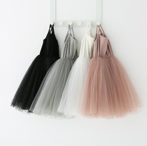 Baby girls Lace Tulle Sling dress Children suspender Mesh Tutu princess dresses summer Boutique Kids Clothing 4 colors