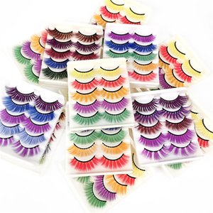 5pairs set Colorful 3D Mink Makeup Thick Eye Lashes Cross Natural Long False Eyelashes Stage Show Fake Eyelash