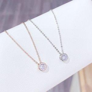 2018 أحدث حجارة واحدة قلادة غرامة مربع حساسة سلسلة 925 الفضة الاسترليني الحافة 5 ملليمتر أشعل مكعب زركونيا مجوهرات بسيطة 24 Q2