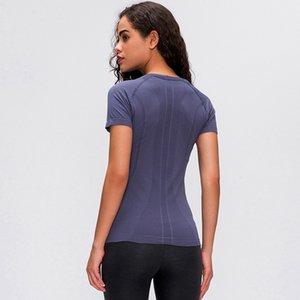 2020 Primavera y verano Nuevas señoras de manga corta Cuello redondo Cuello redondo Camiseta para correr Fitness Shirt Slim transpirable Yoga de manga corta L-028