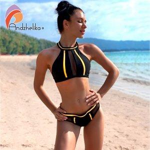 Andzhelika New Sexy Strapless Girls Bikini Set Mesh Pacthwork Backless Swimsuit Brasiliano Estate Beach Spiaggia Costume da bagno Monokini 210318