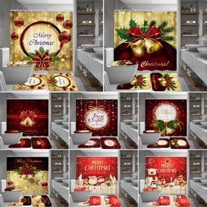 Santa Claus Snowman Bell Rideau de douche Set Tapis de bain Tapis Joyeux Noël Salle de bain Rideaux Tapis de couvercle de couvercle de toilette Tapis de toilette