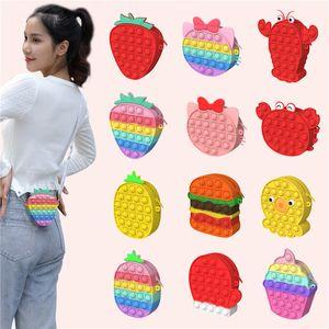 Fidget Stress Reliver Single Shoulder Crossbody Bag Toy Push Bubble Strawberry Pineapple Messenger Phone Bags