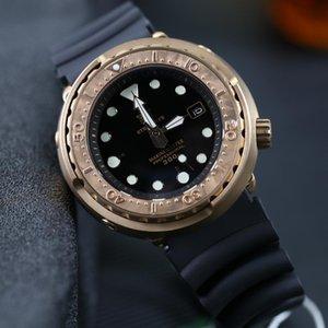 Германия Импорт олова Бронза 300M Dive Часы Японии NH35 Авто Механические часы Tuna Наручные часы