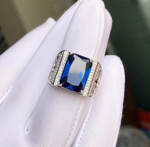 Fashion Ring Exquisite Royal Blue Sapphire Gemstone for Men Rectangle Gem Good Cut 925 Sterling Silver Birthday Gift Big Size Rings N1