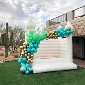 Newest Outdoor Inflatable Wedding Bouncer White Bounce House Jumping Bouncy Castle Activities