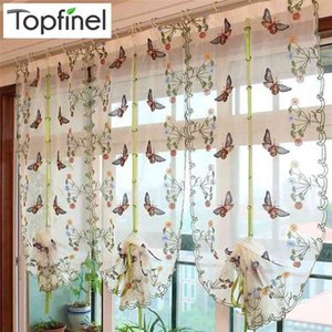 Embroidered Butterfly Sheer Curtain for Living Room Kitchen Bedroom Roman Curtain Tulle for Window Elegant Japanese Style 210831