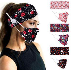 Headband Mask 2Pcs set Face Mask Holder Headbands with Button Hairband Designers 3D Spiral Tie Dye Heart Masks Elastic Masks Head Bands New