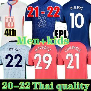 Jersey di calcio Pulisico Ziyech Haventz Kante Werner 20 21 Abraham Chilwell Mount Jorginho 2021 Giroud Camicia da calcio Uomo + Kid Kit
