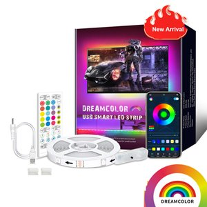 Dream Colour TV Strip light 40Key Bluetooth Smart App Control Sync with Music RGB LED Background Tape Lamp for Home party