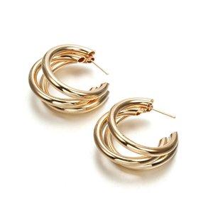 Trendy Fashion Metal Elegant Hoop Earring Woman Vintage Gold Color Korean Statement Earrings Accessories Brincos Gift