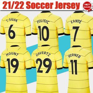 Футбольные трикотажки # 10 Pulisic # 7 Kante onle Yellow Soccer Jersey 21/22 # 11 Вернер # 19 Маунт-рубашки 2021/2022 Индивидуальные # 29 Havertz # 9 Униформа Авраама