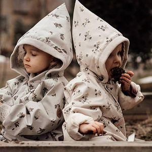Coat DEEPIN* Children's Jacket Autumn And Winter Boys Girls Mid-length Pear-Shaped Pattern Cute Design Windbreaker Hoodie