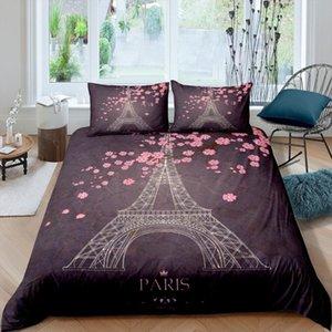 Bedding Sets Romantic Duvet Cover Pillowcase Paris Eiffel Tower Pattern Luxury Comfortable Set Single Twin Queen King
