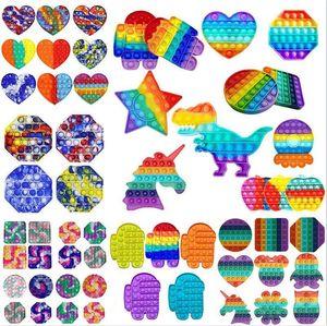 Rainbow Push Pop It Fidget giocattolo Sensoriale Push Bubble Fidget Sensory Autism Bisans Bisans Ansia Ansia Stress Reliever per il giocattolo di decompressione dell'ufficio