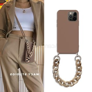 Marble Crossbody Lanyard Bracelet Necklace Chain Case For 12 11 mini xs xr x pro max 5s se 7 8 6 plus Soft Tpu Back Cover