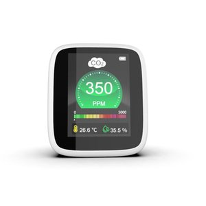 Retail Portable CO2 Meter Analysator Tischtemperatur Luftfeuchtigkeit Luftqualitätsmonitor Gasdetektor LCD Digital groß Bildschirm Thermograph Sensor Test Haushalt Epacket