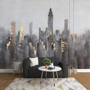 Wallpapers Custom Mural Wallpaper Nordic Minimalist Abstract 3D Golden City Building Background Wall Decor Living Room TV Papel De Parede