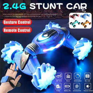 4WD RC Stunt Car Watch Control Gesture Induction Deformable Off Road Car Transformer Car Toys for Kids with Music LED Light