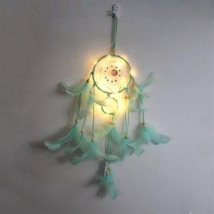 LED Luz Sueño Catcher Dos anillos Pluma Dreamcatcher Viento Chime Decorative Wall Colgando Multicolor 12ms J2