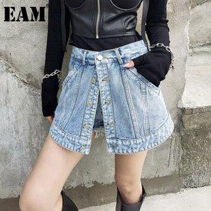 [EAM] Women Retro Burrs Spliced Denim Wide Leg Shorts New High Waist Loose Fit Trousers Fashion Tide Spring Summer 2021 1DD5538