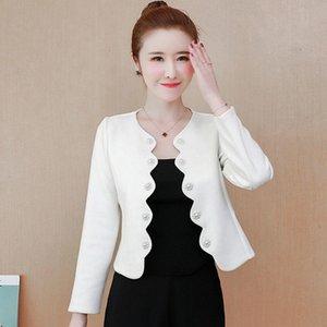 Women's Jackets Women Faux Suede Elegant White Jacket O Neck Bolero Cloak Coat Office Lady Outwear Suit Open Stitch Scallop Pearl Beading