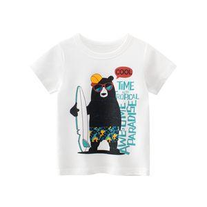Boys Tshirts Cartoon Kids Short Sleeve Athletic Toddler Top Tee Shirts 2-7 Years Car Print Cloth