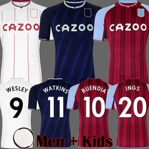 21 22 Aston Soccer Jerseys BUENDÍA WATKINS WESLEY Villa 2021 2022 AVFC third blue BUENDIA INGS Football Shirts EL GHAZI McGINN TREZEGUET Men kits Kids equipment
