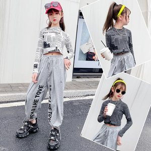 Teenage Kids Girls Hip Hop Suit Jazz Dance Costume Children Street Performance Clothing Tracksuit For 12 13 14 Year Sets