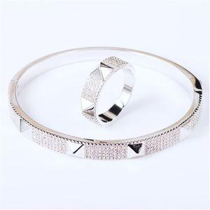 Donia Bijoux Mode Exagration Géométrie classique Micro Inlaid Zirconia Bracelet Bague Ensemble Bracelet Femme Bague Cadeau 391 Q2