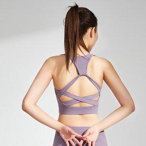 요가 의류 여성 단단한 허리 스트레치 크로스 - 유사 뒷자리 패드 상단 브래지어 스포츠 낚시 퀵 건조