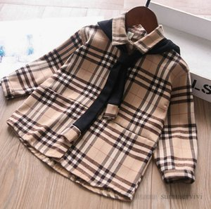 Classic kids plaid shirt children contrast color lace-up hooded casual tops girls single breasted long sleeve lattice blouser Q2047