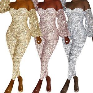 Womens Designer Bodysuit Sequins Even Sleeve Slash Neck Mid Waist Jumpsuits Autumn Sexy Fashion Casual Female Rompers
