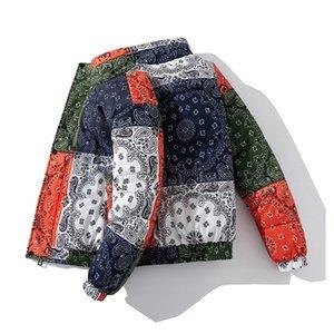 Kış Yastıklı Ceketler Ceket Bandana Paisley Desen Ceket Parka Erkekler Hip Hop Streetwear Kalın Rüzgarlık Harajuku