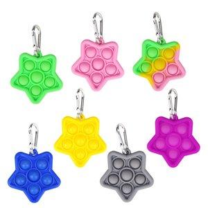 Fidget Toy Keychian Push Bubble Pop It Colorful Sensory Jeu d'anxiété Stress Stress Relever Child Kids Key Anneau Cadeau HHA1741