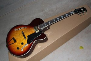 Top quality Wholesale TOP Tiger maple Sunburst Hollow jazz L-5 L5 Jazz electric guitar @24
