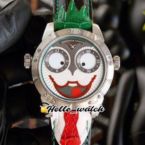 Cara sonriente única Konstantin Chaykin Relojes verde interior Joker Joker Dial Russian Time Swiss Quartz Mens Relk Steek Case Cuero Corbata Red Hello_Watch