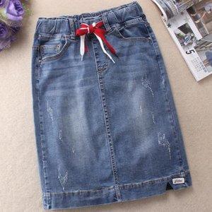 Skirts Denim Skirt Women Elastic High Waist Stretch Slim Package Hip Knee-length Jeans Plus Size 3XL