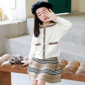 kids designer clothes girls Girl's autumn dress 2020 new knitted cardigan short skirt two piece 816 V2