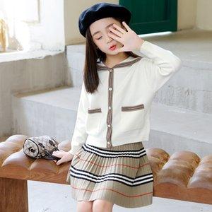 Bambini Designer Vestiti Ragazze Girl's Autunno Dress Autunno 2020 Nuovo cardigan lavorato a maglia Gonna corta Due pezzi 816 V2