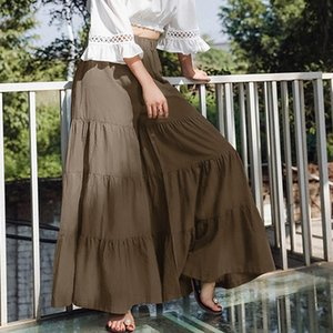 Skirts Women Fashion Solid Color Skirt Trousers Loose Fit Elastic Waist Wide Leg Long Pants For Spring Fall Ladies Casual
