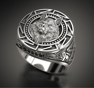 Vintage Fashion Viking Warrior Wolf Head Rings for Men Punk Jewelry Retro Wolf Totem Male Silver Color Ring Hip Hop Finger Bands